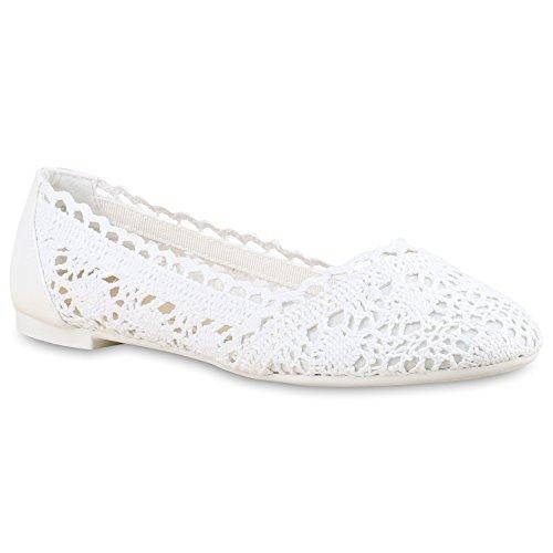 Stiefelparadies Damen Ballerinas Spitze Schleifen Flats Vintage Slipper Ballerina Sommer Schuhe 137527 Weiss Strick 38 Flandell