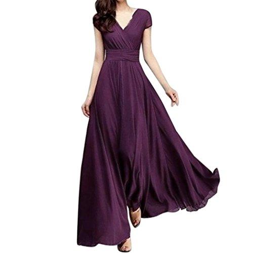 Fuibo Damen Kleid, Mode Frauen beiläufige feste Chiffon V-Ausschnitt Abendgesellschaft langes Kleid   Sommerkleid Abendkleid Partykleid Cocktailkleid (L, Lila)