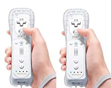 AMO® X2 Motion Plus 2 in 1 Remote Multi Player Nintendo Wii Games Controller + FREE SILICONE COVER (White)
