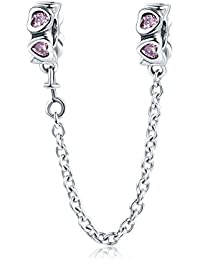 b5f4a7c81 Lily Jewelry Elegant Heart Pink Safety Chain 925 Sterling Silver Bead For  Pandora European Charm Bracelet