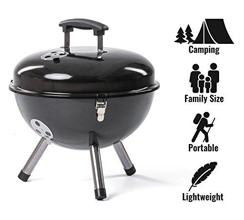 ROSMARINO Hochwertige Mini Grill für Camping - Tragbare Picknick Kugelgrill aus Edelstahl - No.1 Klappgrill für Romantisches Grillen