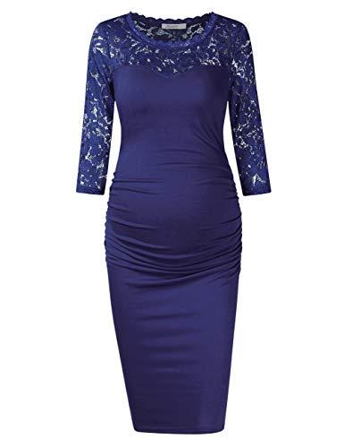 KOJOOIN Damen Umstandskleid Spitzenkleid Schwangerschafts Kleid für Schwangere Lace Party Ball Umstandskleid