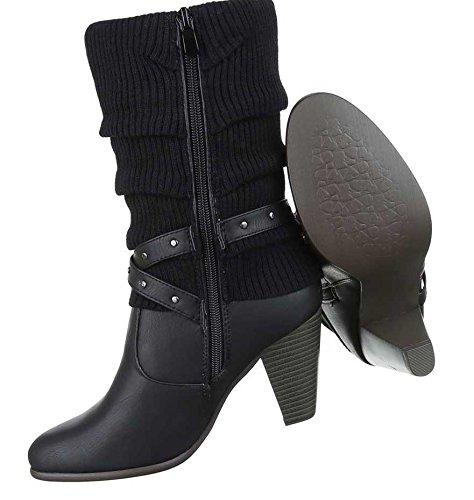 Damen Stiefel Schuhe Boots Stiefeletten Mit Nieten Schwarz Schwarz
