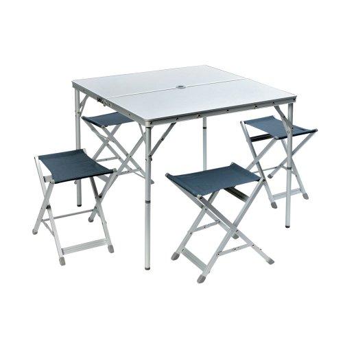 Aluminium Campingtisch mit 4 Stühlen für Familie. Ein Mehrzwecktisch für Indoor und Outdoor, Hitzebeständig und Wasserfest. Klapptisch faltbar mit Griff. Tischset mit Sitzbänken und Campingstuhl