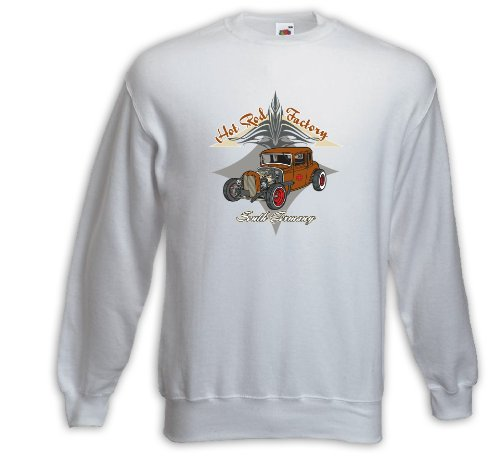 Rockabilly Pullover Hot Rod Factory weiß V8 Pinup Zündkerze Weiß