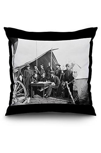yorktown-va-topographers-at-camp-winfield-scott-civil-war-photograph-20x20-spun-polyester-pillow-cas