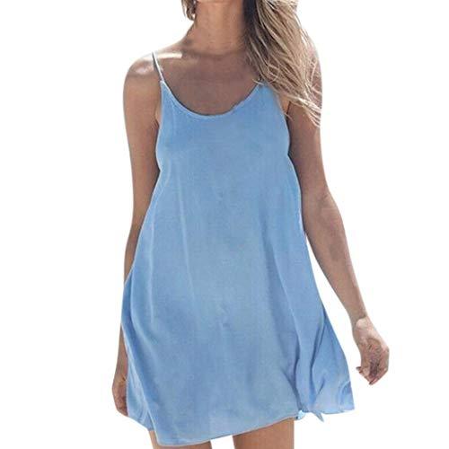 Whycat Mini Dress Sale Frauen Solide Sleeveless Oansatz Beiläufige Lose reizende Spaghetti-Trägern Sommer-Strandfest-Kleid(Blau,L