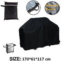 Wiiguda@BBQ cubierta de parrilla, funda para barbacoa protección de pantalla,cubierta impermeable para barbacoa negro 170 x 61 x 117 cm.