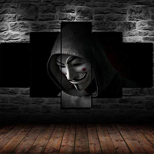Yywife Leinwanddrucke Kreatives Geschenk 5 stück Leinwand Bilder Moderne Wandbilder XXL Wohnzimmer Wohnkultur Gerahmter anonymer Hacker im Sweatshirt Malerei