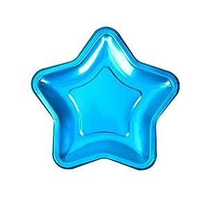 Neviti- Foil Star Plate-Blue-Pink-8 Pack Papel, Color azul, 18 x 18 x 0.5 (773048)