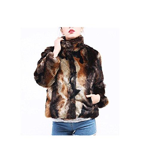 Huaishu Long Manteau de Fourrure des Femmes Mince Mode Fausse Fourrure Veste survêtement Hiver Pardessus