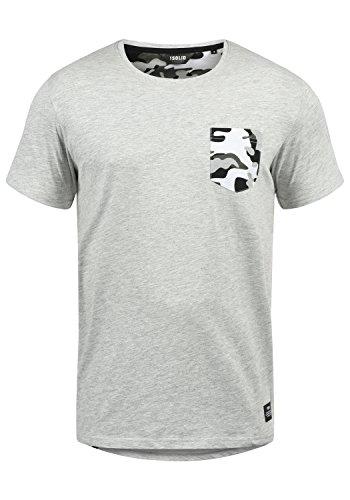 !Solid Calvin Herren T-Shirt Kurzarm Shirt Mit Rundhalsausschnitt Und Camouflage-Brusttasche, Größe:XXL, Farbe:Light Grey Melange (8242)