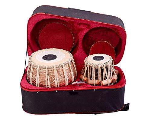 SAI Musicals Tabla-Set, professionell, 3,5 kg, Kupfer-Bayan - Blumendesign, Sheesham Dayan - C Sharp, gepolsterte Tasche, Hammer, Kissen, Bezug, Tabla-Handtrommeln Indisch (PDI-BHJ)
