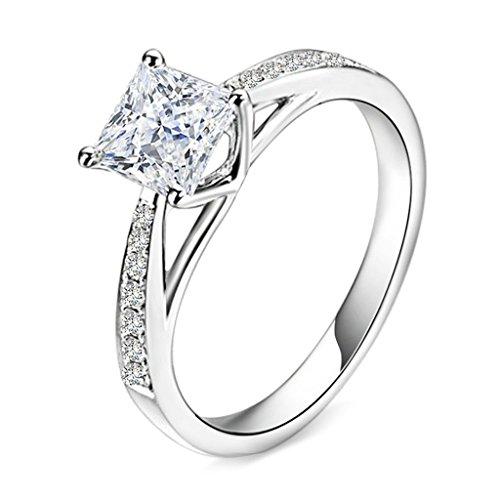 Bishilin S925 Sterling Silber Vintage Style Cz Princess Cut Solitär Hochzeit Verlobungsring Für Damen Größe 54 (17.2) Granat Ring Princess Cut