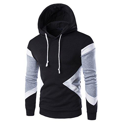 VENI MASEE Herren Nähte Mode Hoodies Pullover Outdoor Kapuzen Sweatshirts(M-XXL) Schwarz