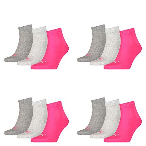 12 Paar Puma Unisex Quarter Socken Sneaker Gr. 35 - 49 für Damen Herren Füßlinge, Farbe:656 - middle grey mélange/pink, Socken & Strümpfe:39-42