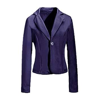 ZANZEA Women's One Button Jacket Blazer OL Slim Short Suit Outerwear M,Navy