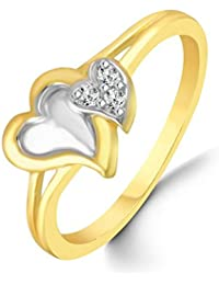 Classic Couple Heart Diamond Studded Gold Plated Alloy Cz American Diamond Finger Ring For Women & Girls [CJFR1265G]