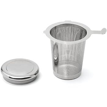 Weis 13662 Filtre à thé en acier inoxydable avec couvercle/coupelle à égouttement