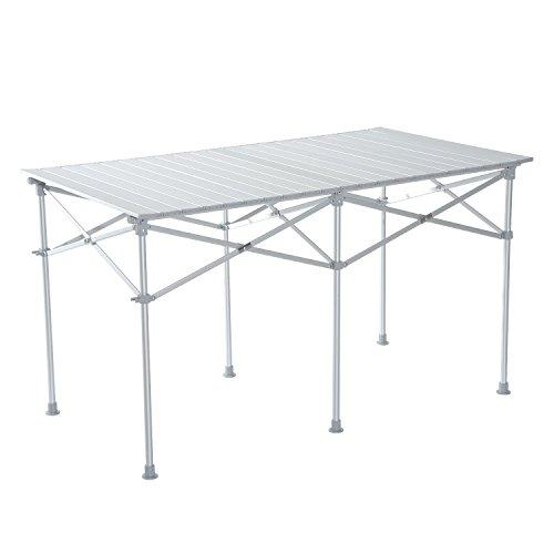 HomCom Mesa Plegable para Camping Terraza o Jardín - Color Plateado -Material de Aluminio - 124x70x68cm