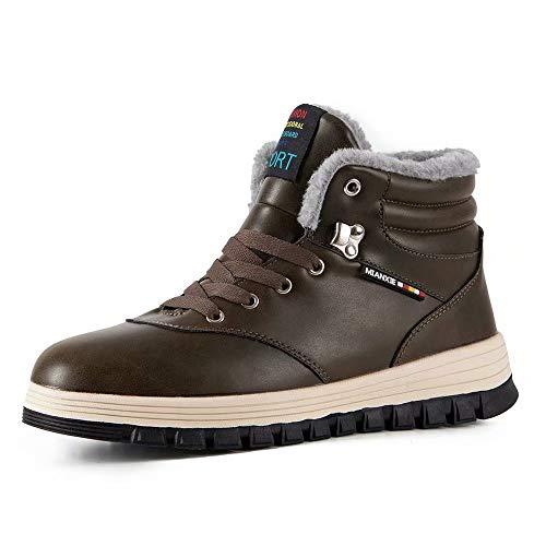 Stivali da Escursionismo Uomo Donna Stivali da Neve Inverno Impermeabile Outdoor Pelliccia Caldi Sneakers(Marrone.911,48EU)
