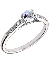 14ct White Gold Diamond and Aquamarine Engagement Proposal Ring