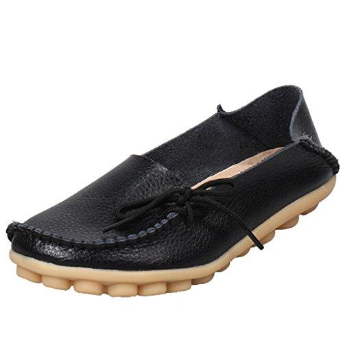 SIMPVALE Damen Mokassin Leder Loafers Fahren Schuhe Comfort Freizeit Flache Schuhe Schwarz