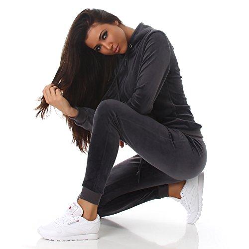 Voyelles Damen Jogginganzug, ein Freizeitanzug mit eleganten Details, in vielen Größen und Farben erhältlich S M L Dunkelgrau