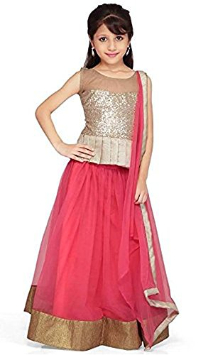 Kid's Clothing Lehenga choli Designer Party Wear Today Offer Low Price Sale Pink Color Net Fabric Silk Inner Free Size Ghagra Choli for Girls  available at amazon for Rs.219