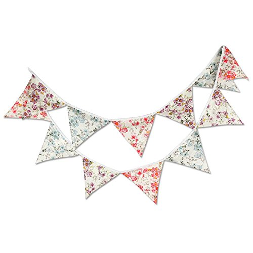 Price comparison product image G2PLUS 10 Feet Floral Bunting Lovely Flag Banner Pennant Flag Garlands Fabric Triangle Flags Double Sided Vintage Cloth Shabby Chic Decoration for Birthday Parties Ceremonies Kitchen Bedrooms (3 Floral Flags Repeated Four Times)