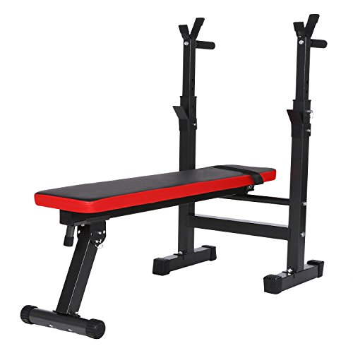 Smibie Banc de Musculation Pliant Banc de Fitness Pliable avec Porte-Haltères Hauteur Réglable Professionnel et Multifonctionnel Banc de la Maison (Haltère Pas Inclus)