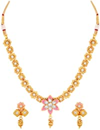 6f679b6dd9949e MFJ Fashion Pink Flower Leaf Design Copper Gold Plated Kundan Princess  Style Necklace Set for Women
