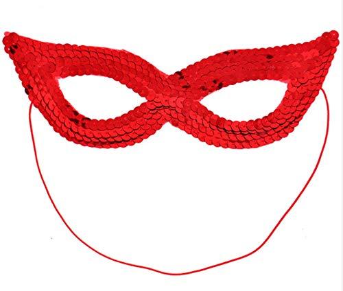 Supergirl Kostüm Erwachsenen Für Frauen - EROSPA® Augen-Maske mit Pailetten - Damen Kinder Jugendliche - Maskenball Fasching Karneval - Rot