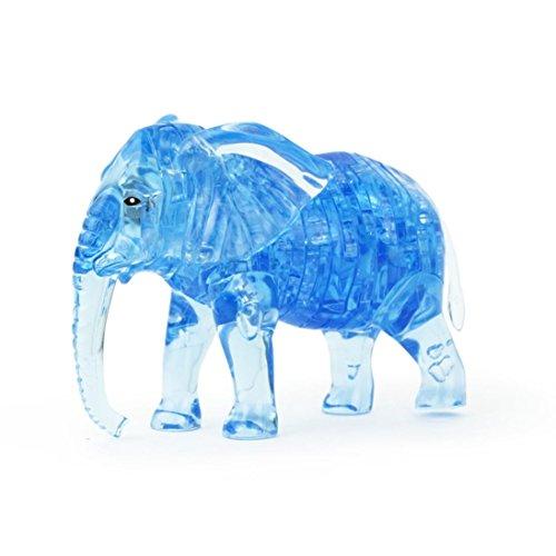 Cuadrarex - Puzzle de Cristal 3D con Diseño de Elefante, Materiales sintéticos, Azul, AS Show