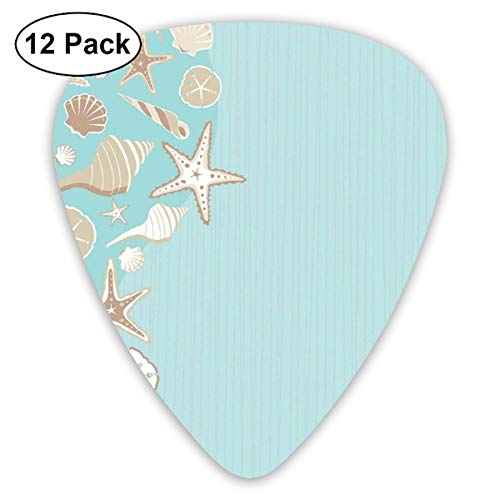 Celluloid Guitar Picks - 12 Pack,Abstract Art Colorful Designs,Thin Lines And Various Creative Seashells Beach Party Theme,For Bass Electric & Acoustic Guitars. -