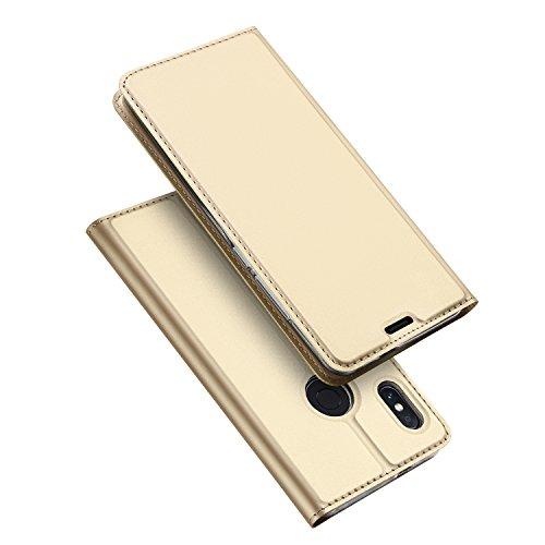 DUX DUCIS Xiaomi Redmi Note 5 Hülle,Flip Folio Handyhülle,Magnet,Standfunktion,1 Kartenfach,Ultra Dünn Schutzhülle für Xiaomi Redmi Note 5 (Golden)
