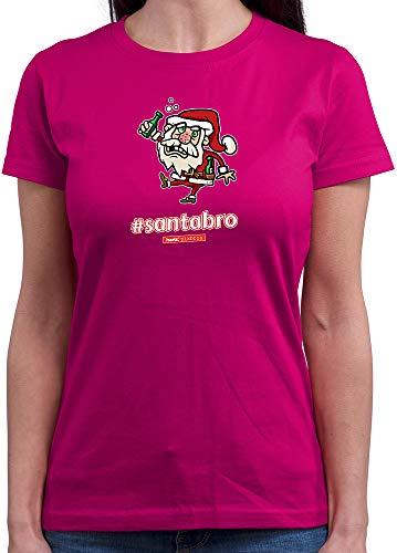 HARIZ  Damen T-Shirt Rundhals Pixbros Santabro Xmas Weihnachten Kinder Familie Winter Plus Geschenkkarte Pink XL