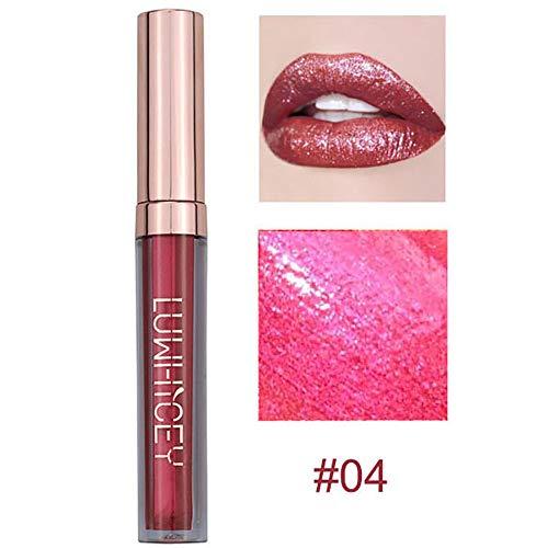 Aktionspreis,Lippenstift,PorLous Neu Beliebt Schönheit Mode Lippenlippenstift Kosmetik Frauen Sexy Wasserdichte Lippen Metallic Lipgloss Feuchtigkeitsspendend 4
