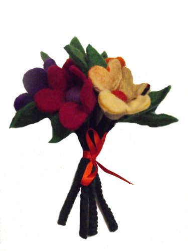 Schöne handgemachte Filz Rose Blume Bouquet , ideal für schöne Interieur - Bouquet von 5 Blumen mit Stielen flexibel - je Blume ist 10 cm im Durchmesser, 14 cm langen Vorbau - Fairtrade aus unserem schönen Felters in Kathmandu , Nepal. (Farbstoff Interieur)