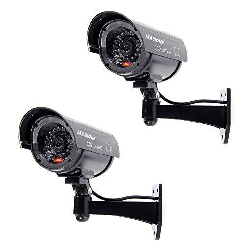 MASIONE 2 Stück Schwarz Dummy CCD Überwachungskamera mit LED Fake Kamera Attrappe CCTV Camera Sicherheitkamera
