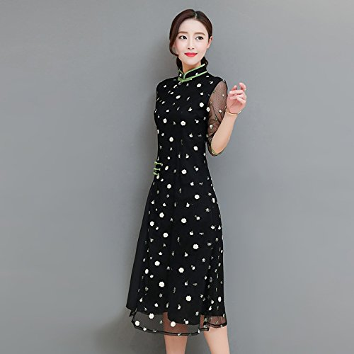 And s Cheongsam Gauze In Zhudj Spring Dress Summer The black Embroidery Long Yb6v7fyg