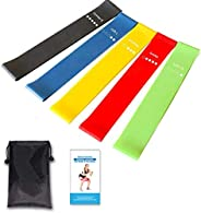 Resistance Loop Exercise Bands Fitness Stretch Bands, Yoga Straps with workout Instruction Guide and Carry Bag