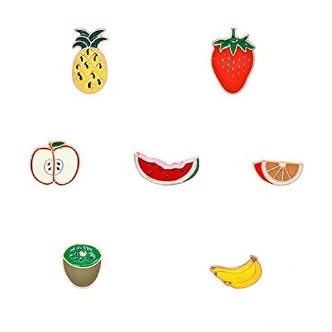 Adisaer Emaille Tasche Kragen Anstecker Brosche Damen Obst Erdbeere Kiwi Ananas Broschen Multi Farben Mädchen 7 Stück (Billige Kostüm-broschen Und Pins)