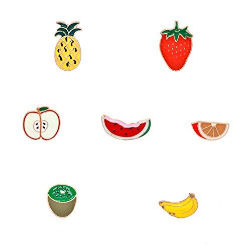 Adisaer Emaille Tasche Kragen Anstecker Brosche Damen Obst Erdbeere Kiwi Ananas Broschen Multi Farben Mädchen 7 Stück Geschenk