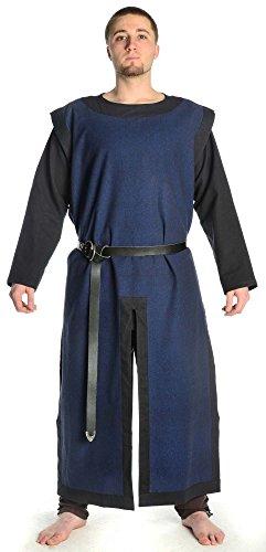 HEMAD Tabarro medievale con telaio nero - Puro Cotone – Blu
