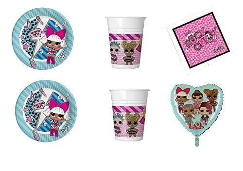 ierte Heimtextilien von Party Store - Set Nr. 31 CDC-(8 Teller, 8 Gläser, 20 ToVagli,1 Pallon Foil Tiffany) ()