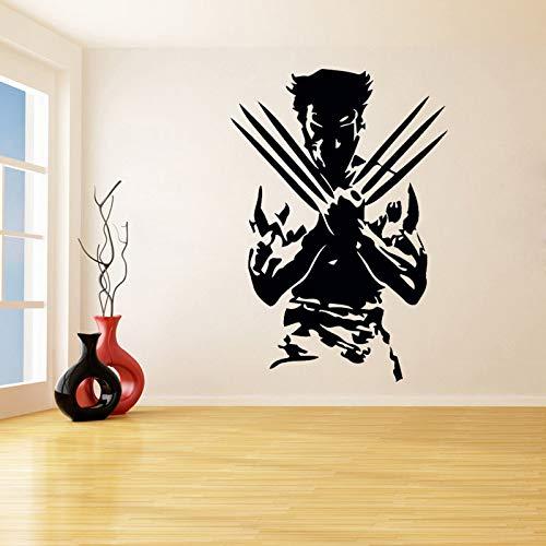 jiuyaomai Silhouette Von X-Men Wandaufkleber Für Wohnzimmer Wohnkultur Kunst Vinyl wasserdichte Abziehbilder Jungen Schlafzimmer Spielzimmer schwarz 56X80 cm