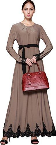 Ababalaya Frauen Elegante Muslimische Islamische Kleidung Rundkragen Einfarbig Länge Abaya Kleid mit Gürtel EU-Größe 32-42,Khaki,Etikettengröße 2XL = EU-Größe 40 Braun Muslimische Hochzeit Kleider