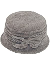 GIZZY® Ladies Wool Mix Cloche Hat with Ruched Effect and Bow Detail