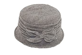 GIZZY® Ladies Wool Mix Cloche Hat with Ruched Effect & Bow Detail (Grey)